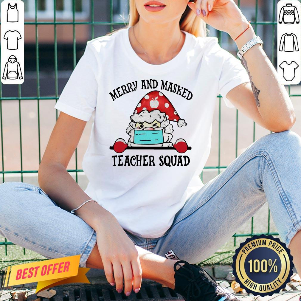 Official Santa Face Mask Merry And Masked Teacher Squad Christmas V-neck- Design By Proposetees.com