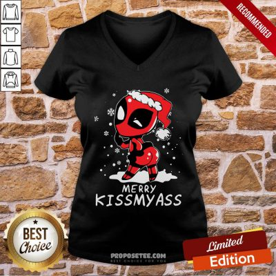 Original Santa Deadpool Merry Kiss My Ass Christmas V-neck- Design By Proposetees.com