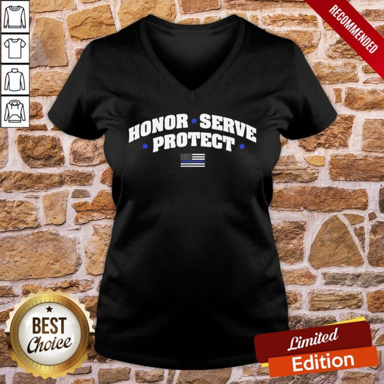 Perfect Honor Serve Protect American Flag V-neck- Design By Proposetees.com