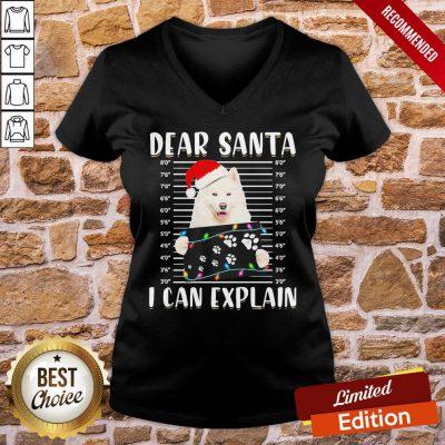 Perfect Japanese Santa Spitz Dear Santa I Can Explain Light Christmas V-neck- Design By Proposetees.com