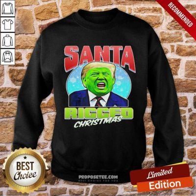 Santa Ricced Christmas Donald Trump Election Sweatshirt-Design By Proposetees.com