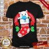 Premium Cute Cat Face Mask Funny Christmas Stocking Shirt-Design By Proposetees.com