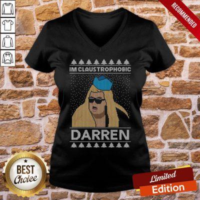 Premium I'm Claustrophobic Darren Ugly Christmas V-neck- Design By Proposetees.com