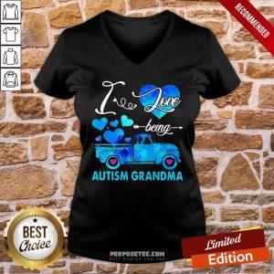 Pretty Autism Awareness I Love Being Autism Grandma V-neck- Design By Proposetees.com