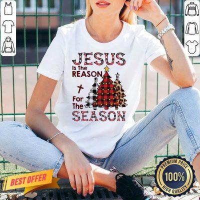 Pretty Plaid Jesus Is The Reason For The Season Pine Christmas V-neck- Design By Proposetees.com