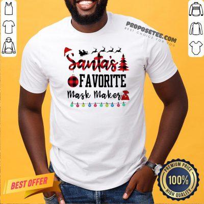 Top Plaid Santa Favorite Mask Maker Christmas Shirt- Design By Proposetees.com