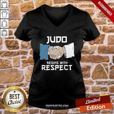 Judo Begins With Respect V-neck-Design By Proposetees.com
