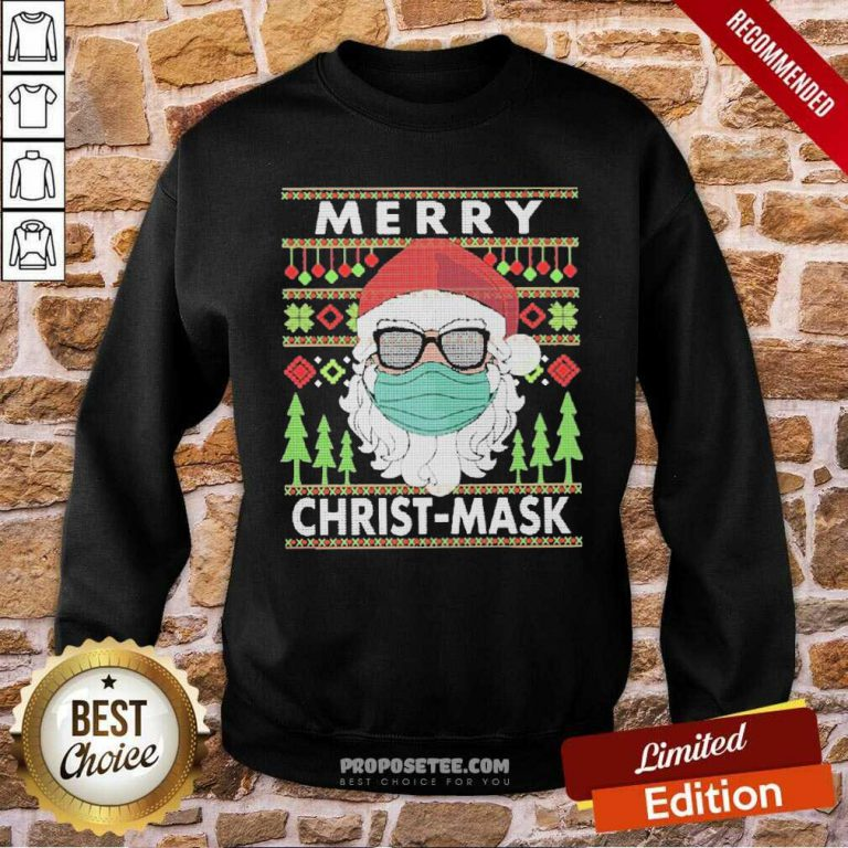 Santa Claus Mask Merry Christ Mask Ugly Sweatshirt-Design By Proposetees.com