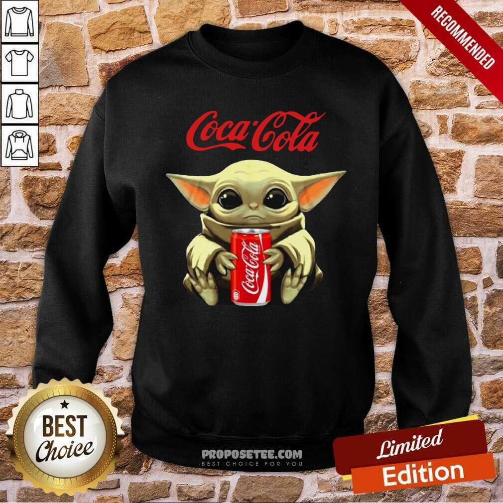 Star Wars Baby Yoda Hugs Coca Cola Soft Drink Sweatshirt-Design By Proposetees.com