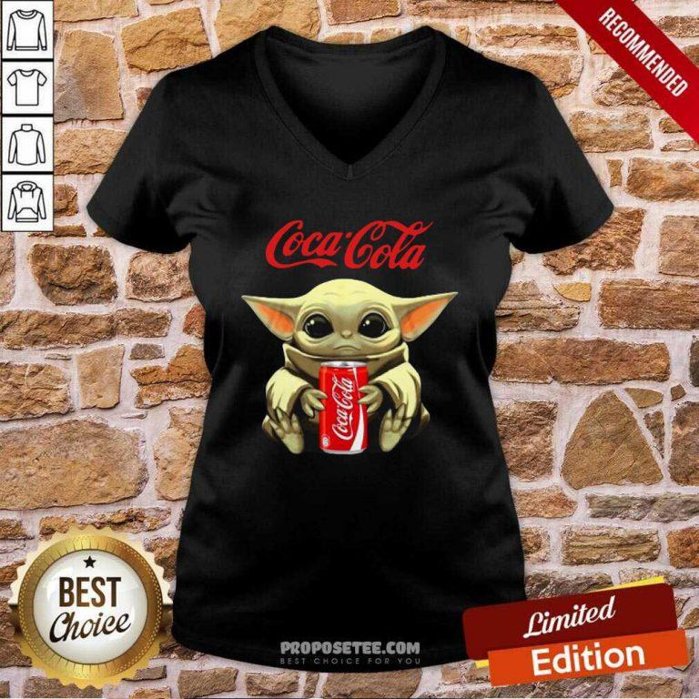 Star Wars Baby Yoda Hugs Coca Cola Soft Drink V-neck-Design By Proposetees.com
