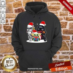 Baby Yoda And Darth Vader Stormtrooper Merry Christmas Sweater Hoodie-Design By Proposetees.com