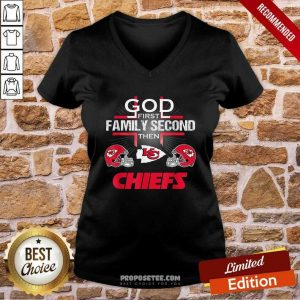 Kansas City Chiefs Cross God First Family Second Then Chiefs V-neck-Design By Proposetees.com