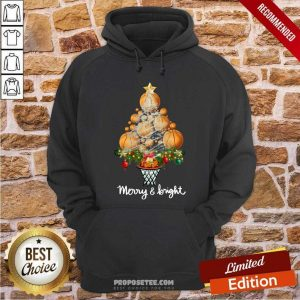 Volleyball Merry And Bright Christmas Tree Hoodie-Design By Proposetees.com