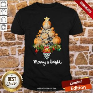 Volleyball Merry And Bright Christmas Tree Shirt-Design By Proposetees.com