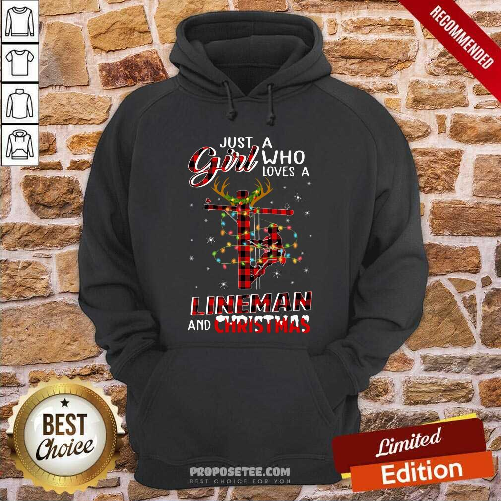 Just A Girl Who Loves A Lineman And Christmas Hoodie-Design By Proposetees.com