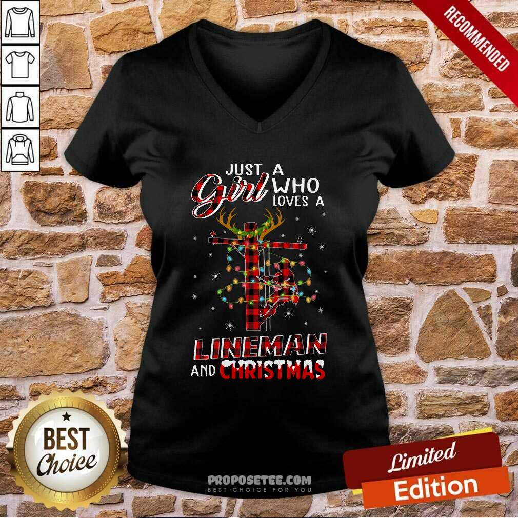 Just A Girl Who Loves A Lineman And Christmas V-neck-Design By Proposetees.com