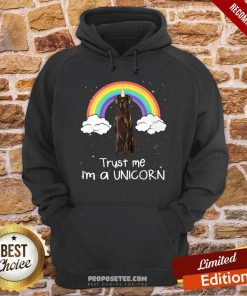 Rainbow Black Great Dane Trust Me Im A Unicorn Dog Hoodie-Design By Proposetees.com