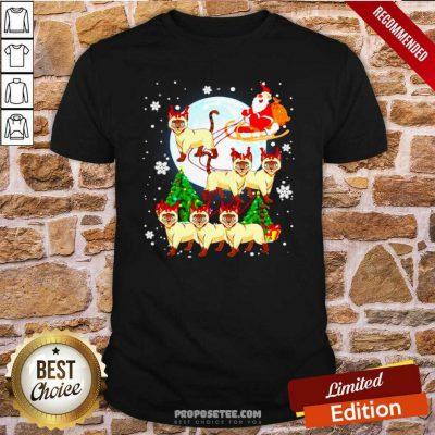 Santa Claus Riding Siamese Reindeer Merry Christmas Shirt-Design By Proposetees.com