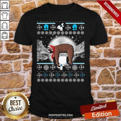 Sloth Hat Santa Sleep Ugly Christmas Shirt-Design By Proposetees.com