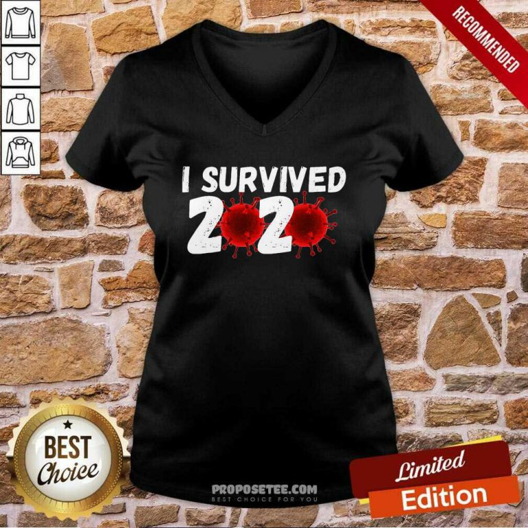 I Survived 2020 Coronavirus V-neck-Design By Proposetees.com
