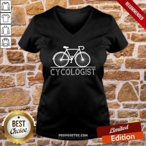 The Bicycle Cycologist V-neck-Design By Proposetees.com