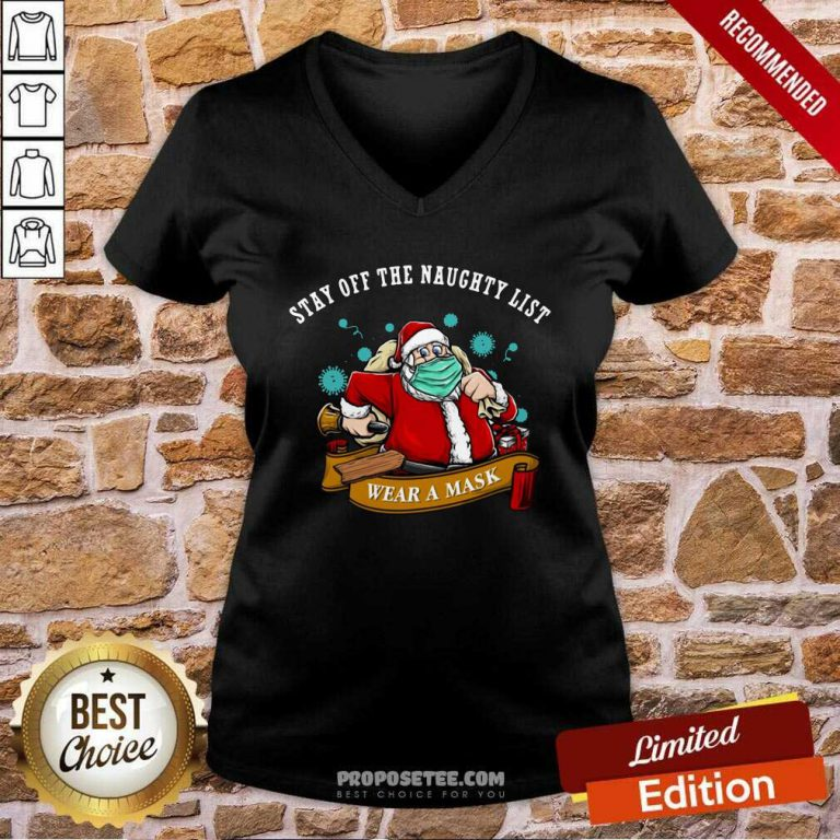 Santa Stay Off The Naughty List Christmas V-neck-Design By Proposetees.com