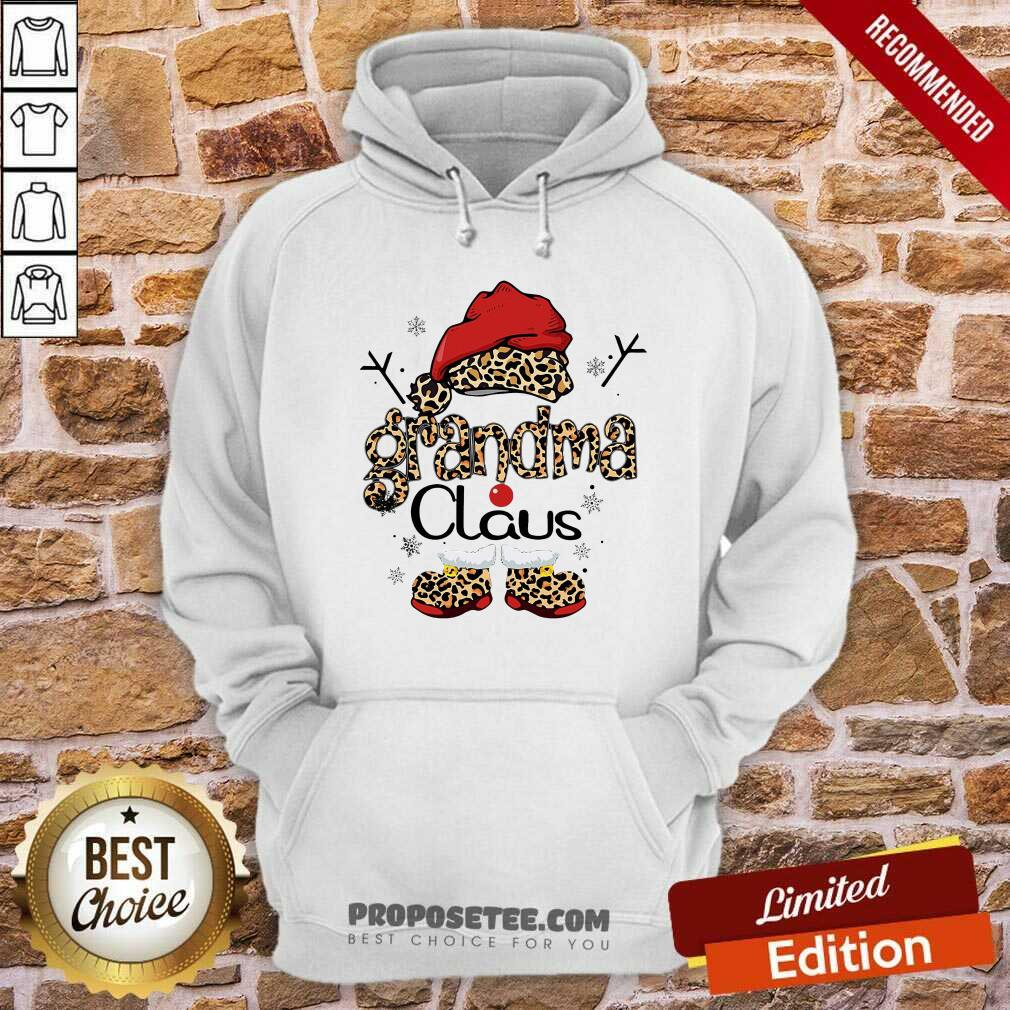 Leopard Grandma Claus Ugly Christmas Hoodie-Design By Proposetees.com