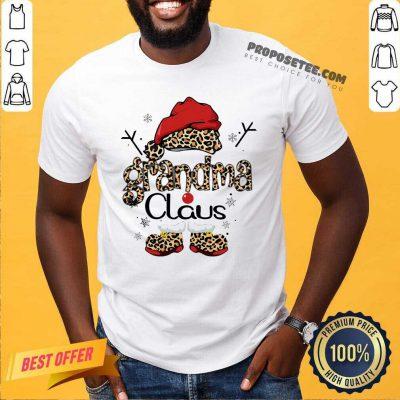 Leopard Grandma Claus Ugly Christmas Shirt-Design By Proposetees.com