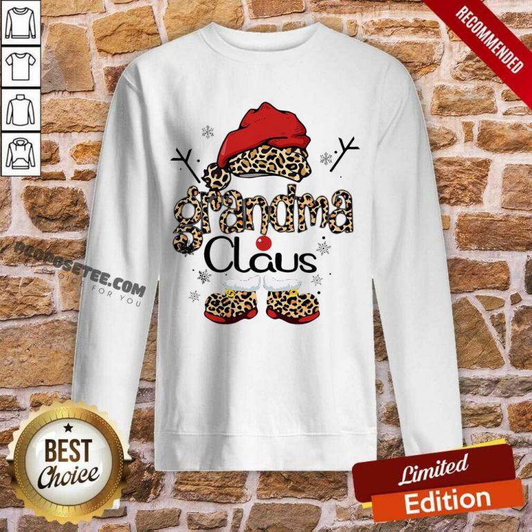 Leopard Grandma Claus Ugly Christmas Sweatshirt-Design By Proposetees.com