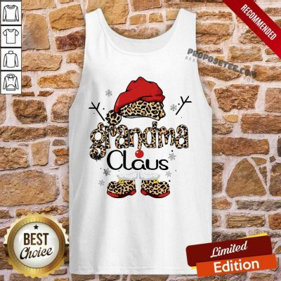 Leopard Grandma Claus Ugly Christmas Tank Top-Design By Proposetees.com
