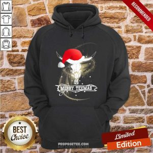 Merry Texmas Skull Cow Christmas Hoodie-Design By Proposetees.com