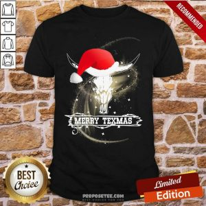 Merry Texmas Skull Cow Christmas Shirt-Design By Proposetees.com