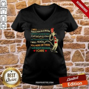 I Will Teach You In A Room I Will Teach You Now On Zoom I Will Teach You In Your House Heart Dr Seuss V-neck-Design By Proposetees.com