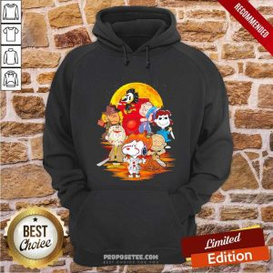 The Peanuts Snoopy And Friends Horror Face On The Moon Hoodie-Design By Proposetees.com