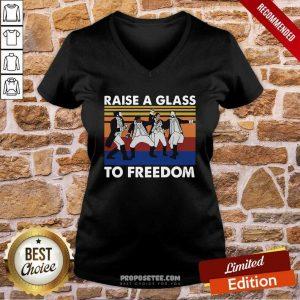 Hamilton Raise A Glass To Freedom Vintage V-neck-DESIGN BY PROPOSETEES.COM