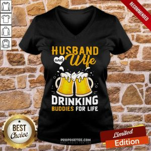 Husband And Wife Drinking Buddies For Life Beer V-neck