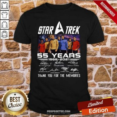Star Trek 55 Years 1966 2021 Thank You For The Memories Signatures Shirt-Design By Proposetees.com
