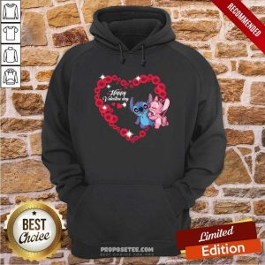 Disney Stitch And Lilo Happy Valentine Day Hoodie-Design By Proposetees.com
