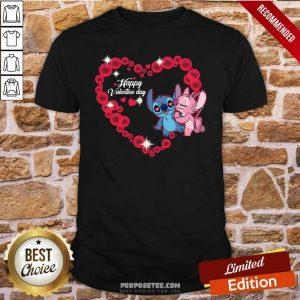Disney Stitch And Lilo Happy Valentine Day Shirt-Design By Proposetees.com
