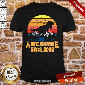 Vintage Awesome since 2008 13 Year Old 13th Birthday Gift For Dinosaur Boy Shirt