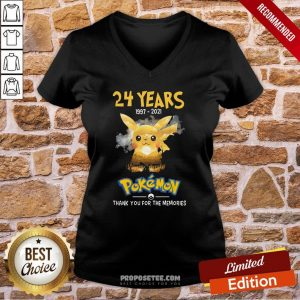 24 Years 1997 2021 Pokemon Thank You For The Memories V-neck