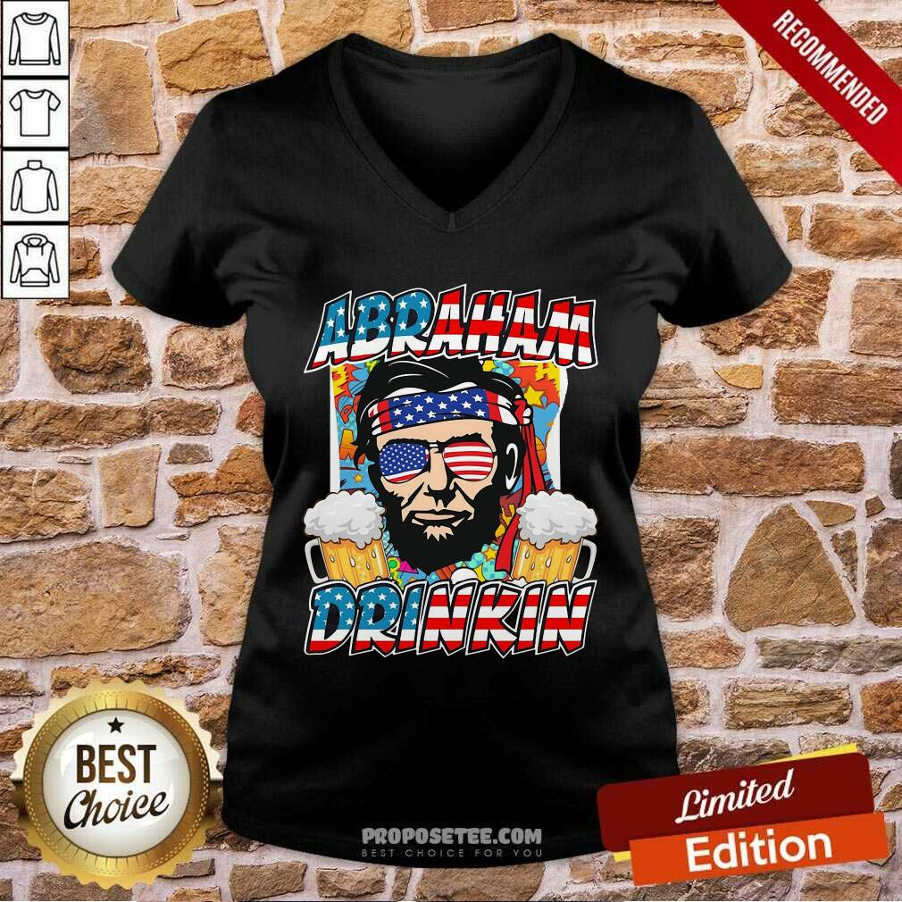 Abraham Lincoln Drinkin 4th Of July Ladies V-neck