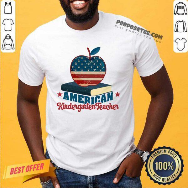 Apple And Book American Kindergarten Teacher Shirt