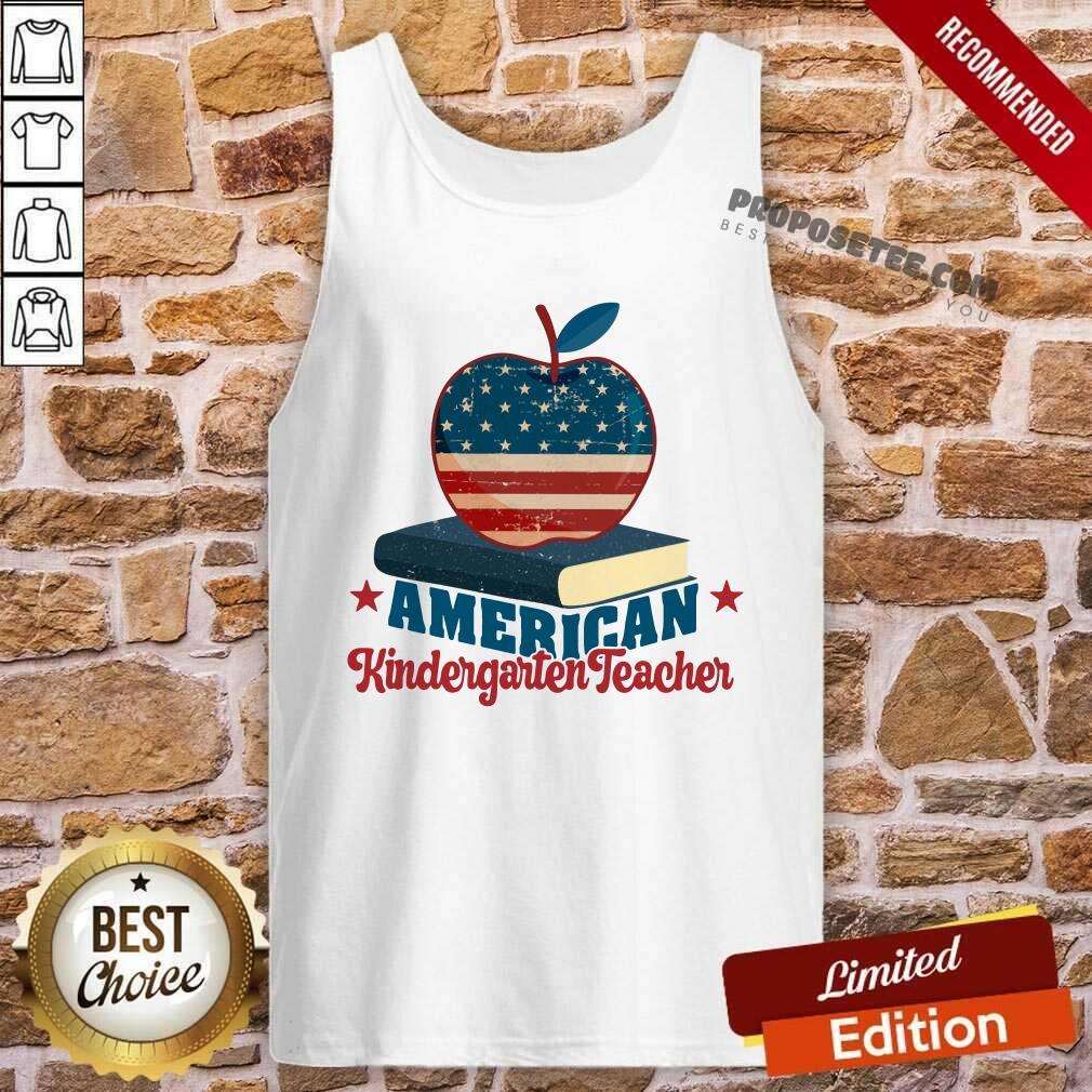 Apple And Book American Kindergarten Teacher Tank Top