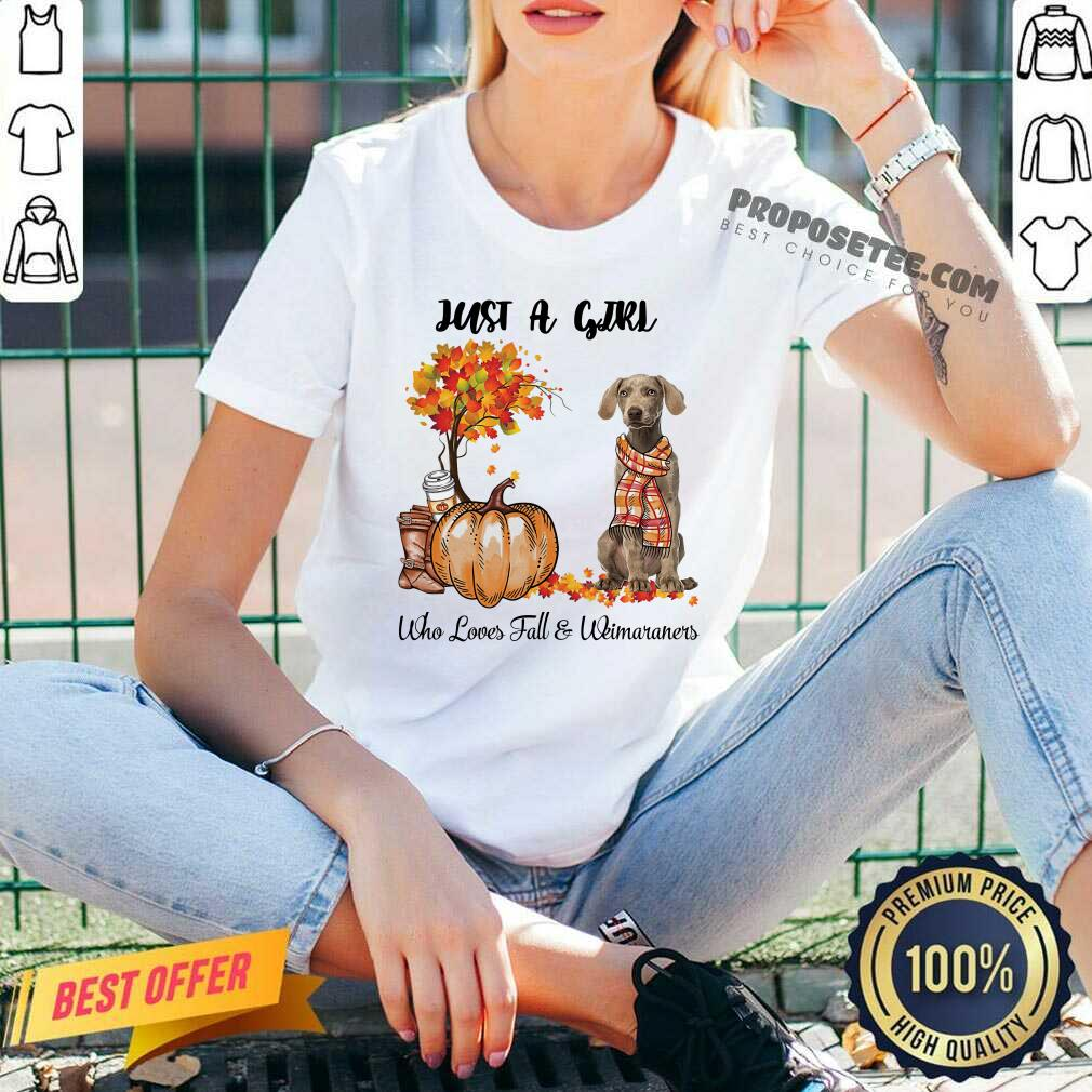 Dog And Pumpkin Just A Girl Who Loves Fall And Weimaraner Halloween V-neck