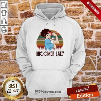 Girl Strong Groomer Lady Vintage Hoodie