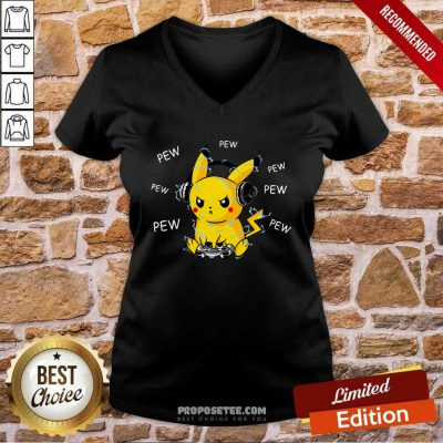Pikachu Play Game Pew Pew Pew V-neck