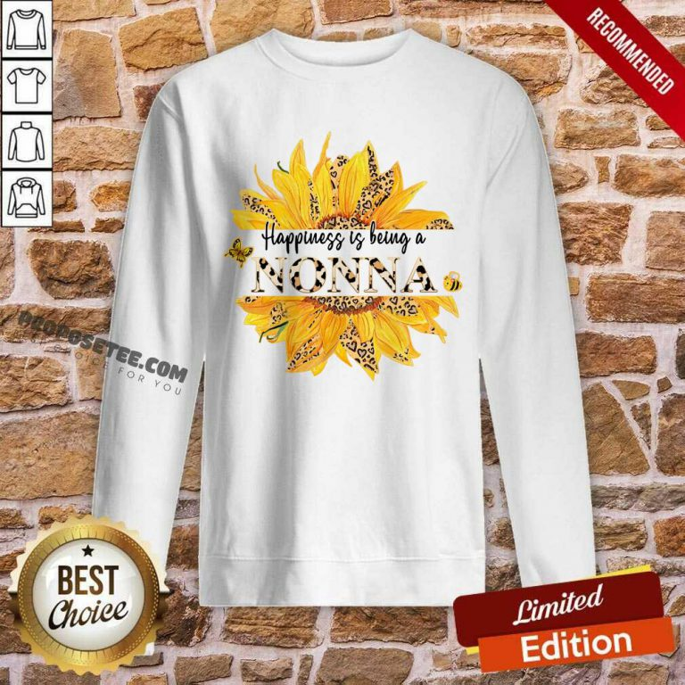 Sunflower Leopard Happiness Is Being A Nonna Sweatshirt