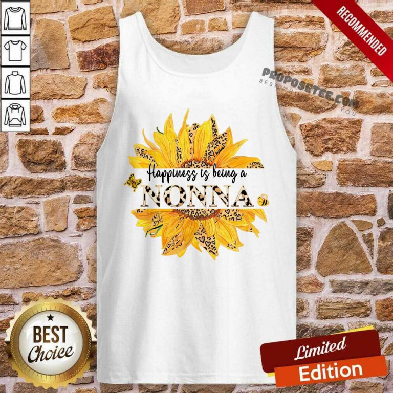 Sunflower Leopard Happiness Is Being A Nonna Tank Top