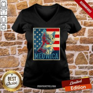 4th Of July Meowica Kitty Cat American Flag V-neck